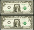 Fr. 1911-E* $1 1981 Federal Reserve Notes. Mule/Non-Mule Changeover Pair. Choice Crisp Uncirculated. ... (Total: 2)