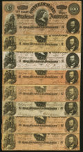Confederate Notes:1864 Issues, T65 $100 1864 Eight Examples Very Good or Better.. ... (Total: 8 notes)
