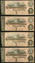 Confederate Notes:1864 Issues, T69 $5 1864 Four Examples About Uncirculated.. ... (Total: 4 notes)