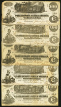 Confederate Notes:1862 Issues, T39 $100 1862 Five Examples Fine or Better.. ... (Total: 5 notes)