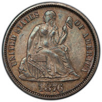 1876 10C MS64 PCGS. PCGS Population: (90/102 and 5/10+). NGC Census: (89/74 and 0/5+). CDN: $300 Whsle. Bid for NGC/PCGS...