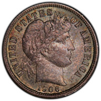 1906 10C MS65 PCGS. PCGS Population: (46/16 and 1/4+). NGC Census: (47/9 and 1/0+). CDN: $270 Whsle. Bid for NGC/PCGS MS...