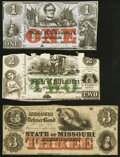 Jefferson City, MO- State of Missouri (Secessionist) $1; $2 Jan. 1, 1862; $3 186_ Remainder About Uncirculated; Fine; Ab...