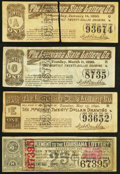 Obsoletes By State:Louisiana, Four Assorted Louisiana State Lottery Co. Tickets Very Fine or Better.. ... (Total: 4 items)