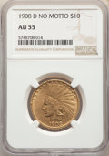Indian Eagles, 1908-D $10 No Motto AU55 NGC. NGC Census: (85/928). PCGS Population: (178/979). CDN: $958.49.Whsle. Bid for NGC/PCGS AU55. ...