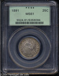 Seated Quarters: , 1891 25C MS61 PCGS. Boldly struck, with minor softness on ...