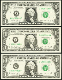 $1 1988A Web Federal Reserve Notes Gem Crisp Uncirculated. Fr. 1917-A Block A-F, Run 1, Plate Combo 5-6; Fr. 1917-F...
