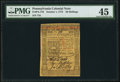 Pennsylvania October 1, 1773 50s PMG Choice Extremely Fine 45