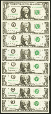 $1 Web Federal Reserve Notes Choice Crisp Uncirculated or Better. Fr. 1917-A 1988A Block A-E, Run 10, Plate Combo 4-4;...