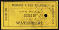 Sunbury & Erie Railroad Ticket Mar. 19, 1861 Very Fine, POC