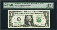 Fr. 1917-A $1 1988A Web Federal Reserve Note Block A-F, Run 15, Plate Combo 8-8 PMG Superb Gem Unc 67 EPQ