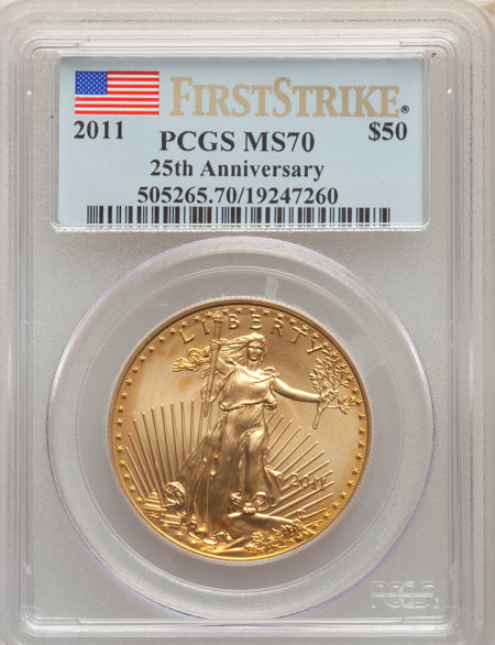 2011 $50 One-Ounce Gold Eagle, 25th Anniversary, First Strike, MS 70 PCGS