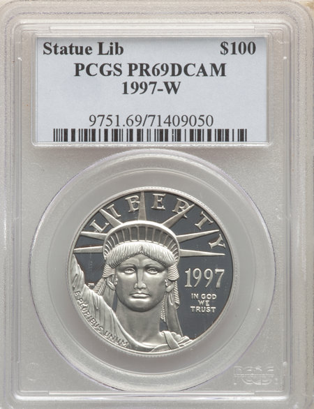 1997-W $100 One-Ounce Platinum Eagle, Statue of Liberty, PR, DC 69 PCGS