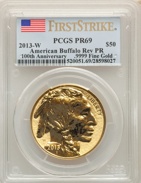 2013-W $50 One-Ounce Gold Buffalo, Reverse Proof, First Strike, PR 69 PCGS