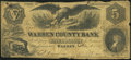 Warren, PA- Warren County Bank $5 Jan. 1, 1855 Very Good