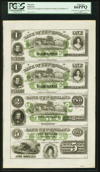 East Haddam, CT- Bank of New England $1-$1-$2-$5 18__ Uncut Sheet PCGS Gem New 66PPQ