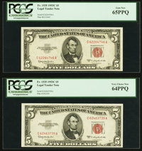 Fr. 1535 $5 1953C Legal Tender Notes. Two Examples. PCGS Gem New 65PPQ; Very Choice New 64PPQ. ... (Total: 2 notes)