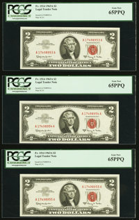 Fr. 1514 $2 1963A Legal Tender Notes. Five Examples. PCGS Gem New 65PPQ. ... (Total: 5 notes)
