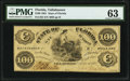 Tallahassee, FL- State of Florida $100 Oct. 10, 1861 Cr. 2 PMG Choice Uncirculated 63
