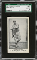 """Baseball Cards:Singles (Pre-1930), 1921 Koester Bread George """"Babe"""" Ruth SGC 80 EX/NM 6 - Only One Higher!..."""