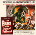 """Movie Posters:Science Fiction, The Beast from 20,000 Fathoms (Warner Bros., 1953). Fine/Very Fine on Linen. Six Sheet (81"""" X 78.5"""").. ..."""