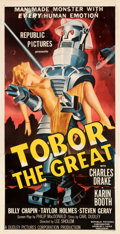 """Movie Posters:Science Fiction, Tobor the Great (Republic, 1954). Very Fine on Linen. Three Sheet (41"""" X 81"""").. ..."""