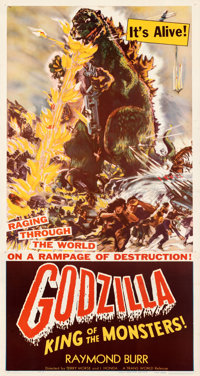 "Godzilla (Trans World, 1956). Very Fine on Linen. Three Sheet (41"" X 81"") Style B"