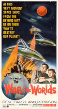 """Movie Posters:Science Fiction, The War of the Worlds (Paramount, R-1965). Very Fine on Linen. Three Sheet (41.5"""" X 78.5"""").. ..."""