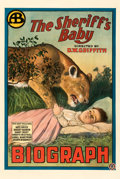 """Movie Posters:Western, The Sheriff's Baby (Biograph Studios, R-1915). Good/Very Good on Linen. One Sheet (28.5"""" X 42"""").. ..."""