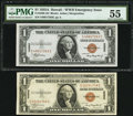 Small Size:World War II Emergency Notes, Fr. 2300 $1 1935A Hawaii Silver Certificates. Two Examples. Very Fine-Extremely Fine; PMG About Uncirculated 55.. ... (Total: 2 notes)