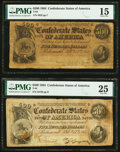 Confederate Notes:1864 Issues, T64 $500 1864 Two Examples PMG Very Fine 25; Choice Fine 15.. ... (Total: 2 notes)