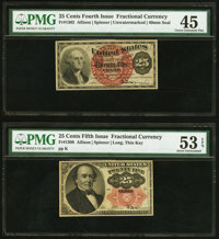 Fr. 1302 25¢ Fourth Issue PMG Choice Extremely Fine 45; Fr. 1308 25¢ Fifth Issue PMG About Uncirculated 53 EPQ...