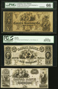 Obsoletes By State:Louisiana, New Orleans, LA Obsoletes 18__ Remainders.. Canal & Banking Co $5 PMG Gem Uncirculated 66 EPQ;. Canal Bank $5 PCGS Gem... (Total: 3 notes)