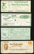 Four Assorted 19th Century Bank Checks from New Jersey, New York, and Wisconsin. Fine-Very Fine or Better. ... (Total: 4...