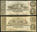 Confederate Notes:1863 Issues, T58 $20 1863 Fine;. T59 $10 1863 Very FIne.. ... (Total: 2 notes)