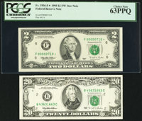 100% Face to Back Dark Offset Fr. 2081-B $20 1995 Federal Reserve Note Very Fine; Low Serial Number 710 Fr. 1936-F* $2 1...