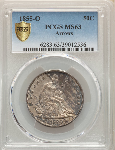 1855-O 50C Arrows, MS PCGS Secure 63 PCGS