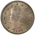 Liberty Nickels: , 1897 5C MS66+ PCGS. PCGS Population: (24/2 and 10/0+). NGC Census: (6/0 and 2/0+). CDN: $1,150 Whsle. Bid for NGC/PCGS MS66...