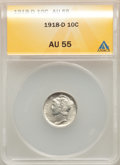 Mercury Dimes, 1918-D 10C AU55 ANACS. This lot will also include the following: 1920-D 10C AU55 ANACS; 1927-S 10C XF45 ANACS; an... (Total: 4 coins)
