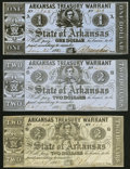Obsoletes By State:Arkansas, Little Rock, AR- Arkansas Treasury Warrant $1 July 31, 1863 Cr. 32A; $2 Nov. 29, 1862 Cr. 40A; $2 Oct. 19, 1863 Cr. 38 Ver... (Total: 3 notes)