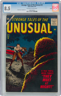 Strange Tales of the Unusual #9 Circle 8 Pedigree (Atlas, 1957) CGC VF+ 8.5 Off-white to white pages