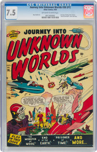 Journey Into Unknown Worlds #36 (#1) (Atlas, 1950) CGC VF- 7.5 Off-white to white pages