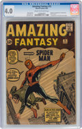 Silver Age (1956-1969):Superhero, Amazing Fantasy #15 (Marvel, 1962) CGC VG 4.0 Cream to off-white pages....