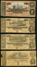 Confederate Notes:1864 Issues, T67 $20 1864 Very Fine;. T68 $10 1864 Two Examples Very Good or Better;. T69 $5 1864 Very Good.. ... (Total: 4 notes)