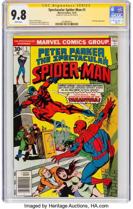 Spectacular Spider-Man #1 Signature Series - Signed by Stan Lee (Marvel, 1976) CGC NM/MT 9.8 White pages....