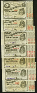 Baton Rouge, LA- State of Louisiana $5 circa 1870s, Seven Examples About Uncirculated or Better. ... (Total: 7)