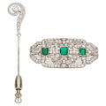 Estate Jewelry:Brooches - Pins, Art Deco Diamond, Emerald, Platinum, White Gold Brooches . ... (Total: 2 Items)