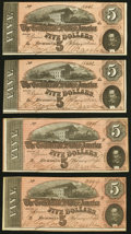 Confederate Notes:1864 Issues, T69 $5 1864 Four Examples Extremely Fine or Better.. ... (Total: 4 notes)