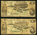 Confederate Notes:1862 Issues, T45 $1 1862 PF-2 Cr. 342 Two Examples Fine.. ... (Total: 2 notes)