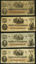 Confederate Notes:1862 Issues, T41 $100 1862 Four Examples Fine or Better.. ... (Total: 4 notes)